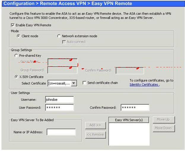 Madison : Asa 5505 easy vpn client