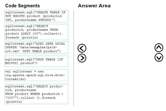 Q 103747: Which four code segments should you use in se